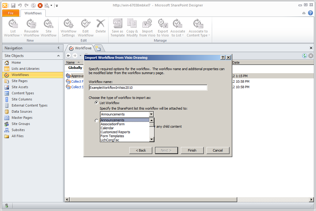 workflow in visio 2010