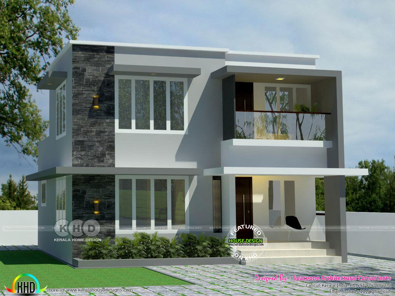 1200 sq-ft 4 bhk flat roof house plan - Kerala home design ...