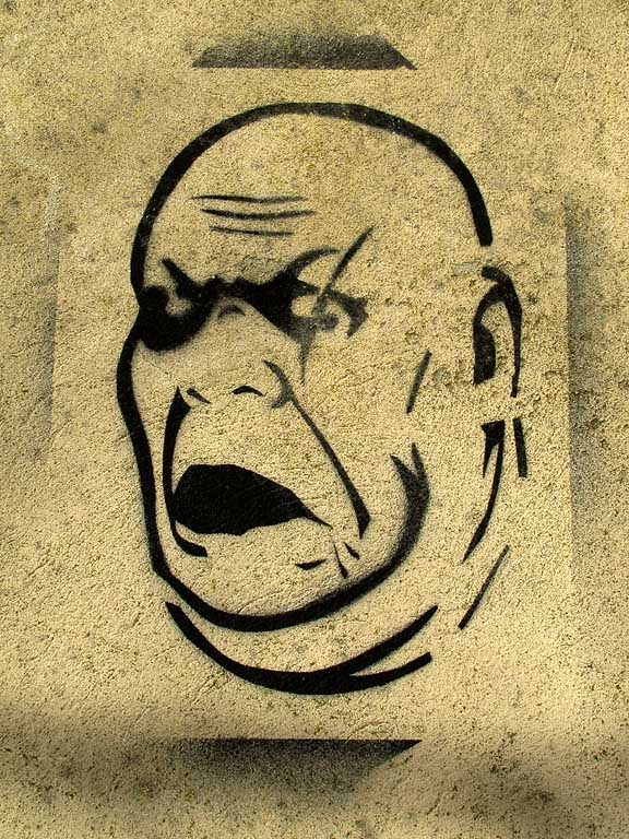 Livorno, raw stencil of a head
