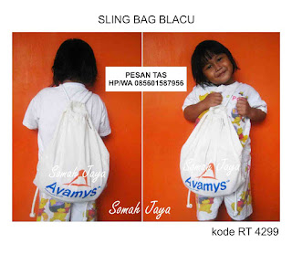 tas blacu murah sling bag tas tpa paud sekolah unik tali serut