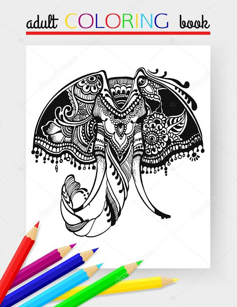 Stock Illustration Adult Coloring Page With Elephant  Cartoon Elephant  Head Coloring Page