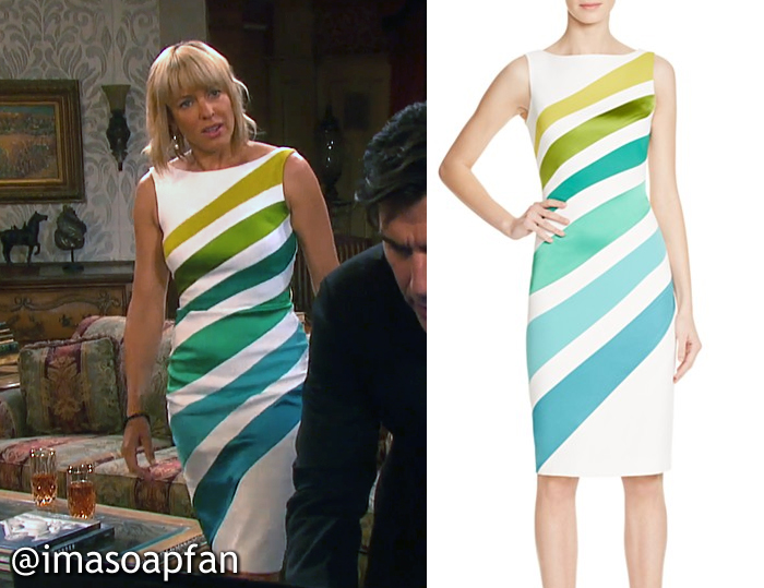 Nicole Walker's White, Yellow, Green, and Blue Ombre Striped Dress - Days of Our Lives, Season 51, Episode 09/06/16, Arianne Zucker