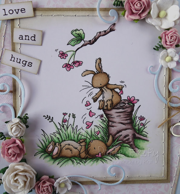 Romantic pastel card featuring cute bunnies (image by LOTV)