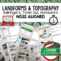 Landforms Topography Worksheets, Earth Science NGSS Bellringers, Science Warm Ups, Science Homework, Science Ticket Out