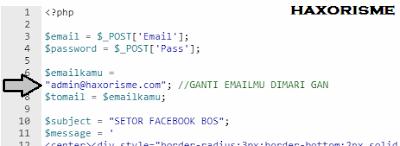 Mengganti Email Result Phising Facebook