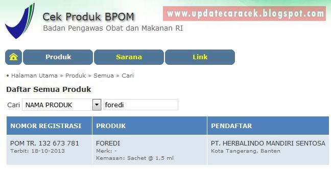gambar hasil pencarian produk bpom berdasarkan namanya
