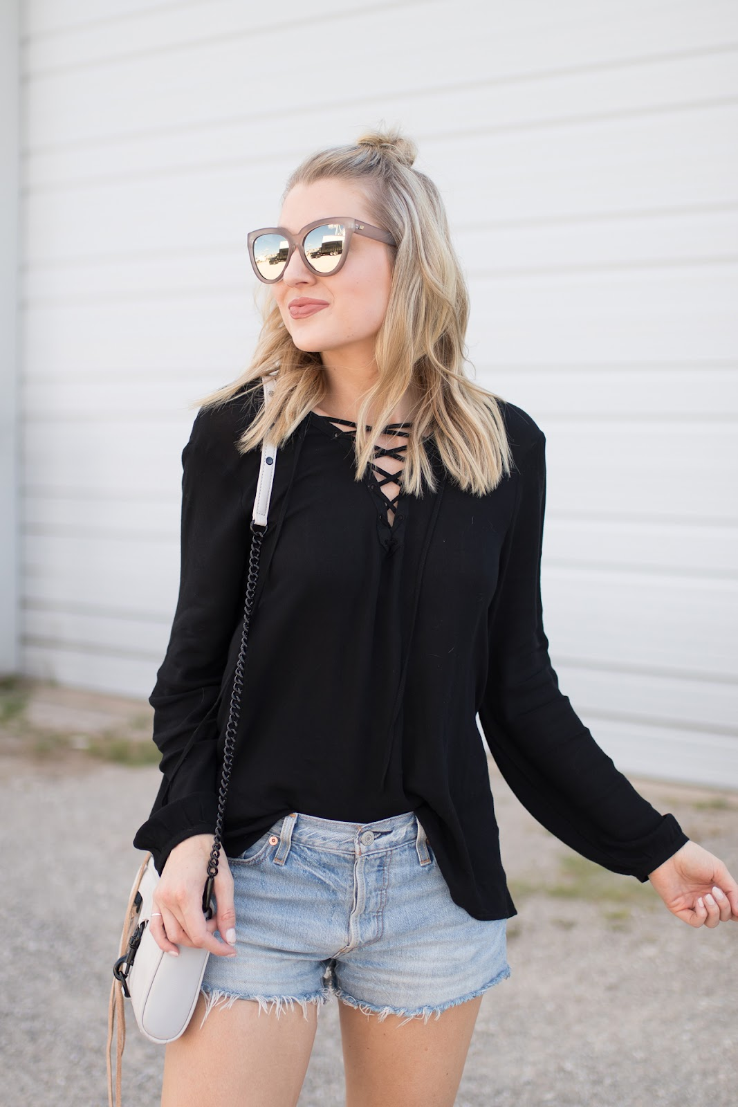 Black lace-up top
