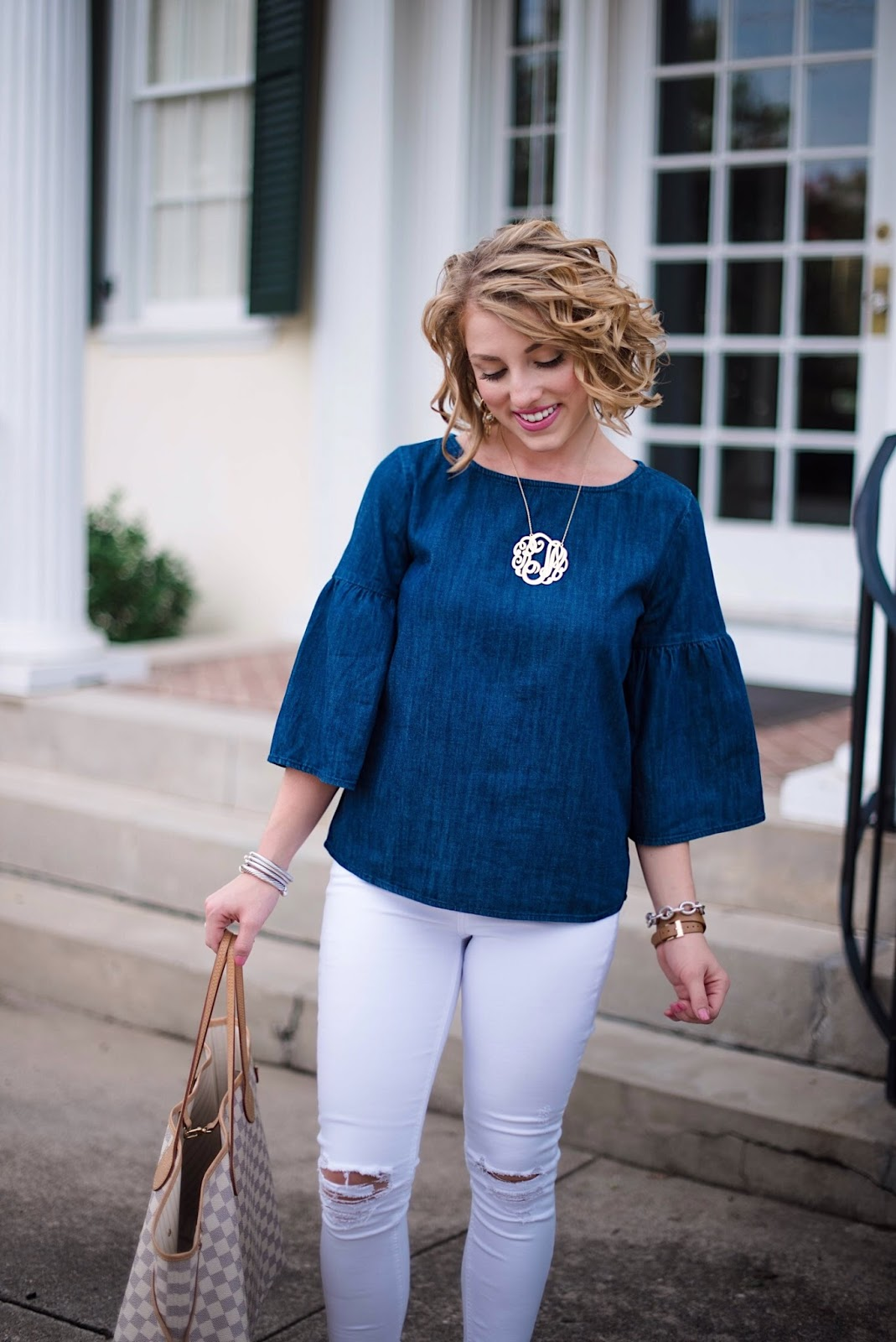 Chambray Ruffle Sleeve Top - Click through to see more on Something Delightful!