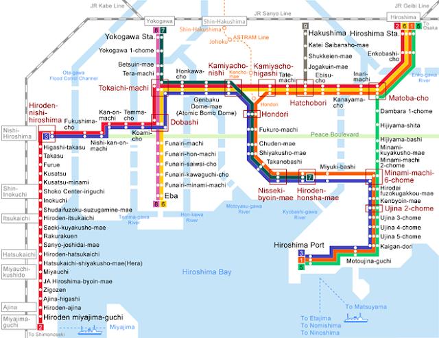 Mapa de las líneas del tranvía de Hiroshima