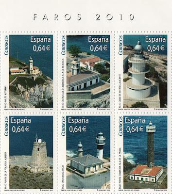 Sellos de la Hoja Bloque de Faros 2010