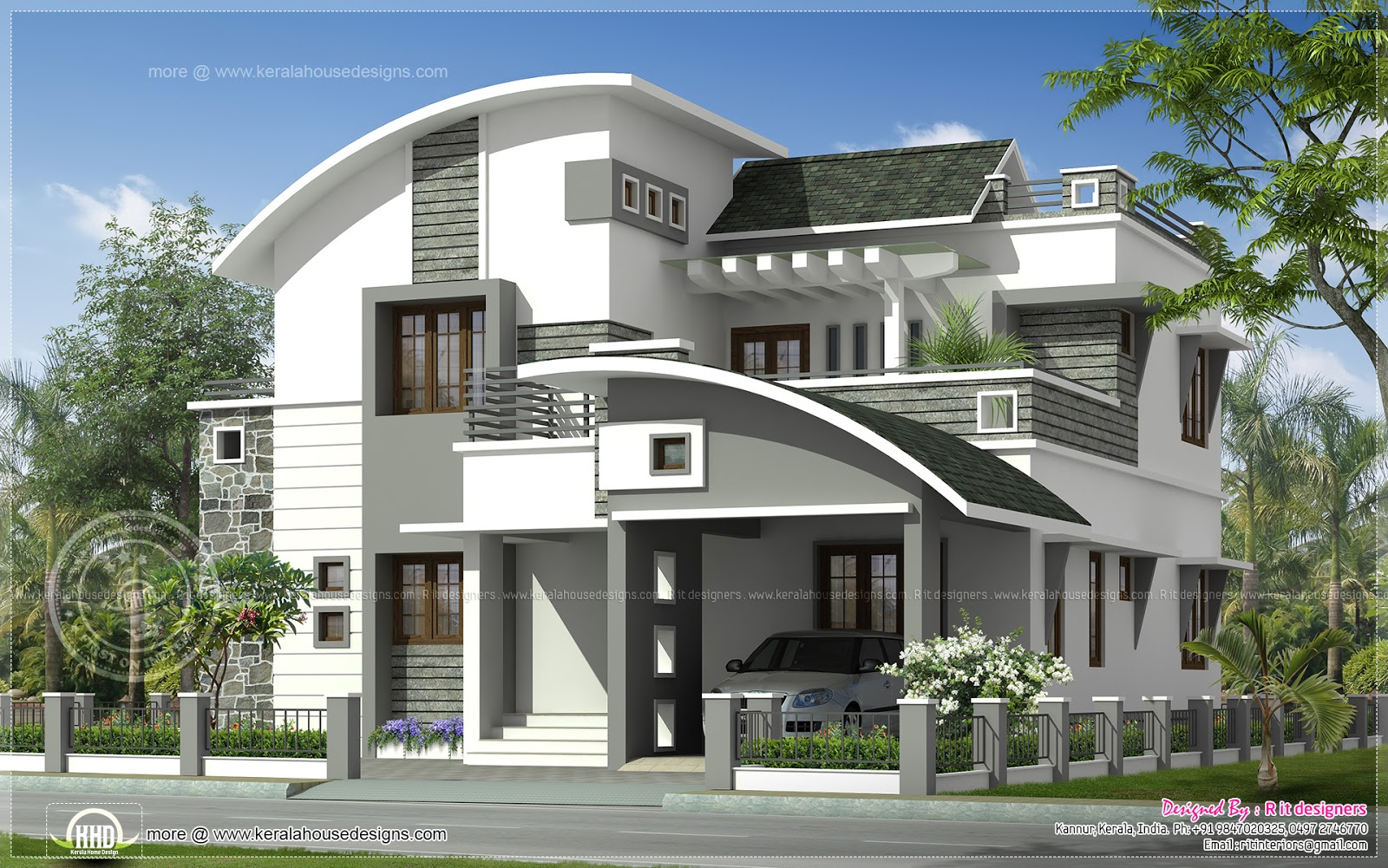 2200 sq ft modern villa exterior kerala home design and for Villa design plan india