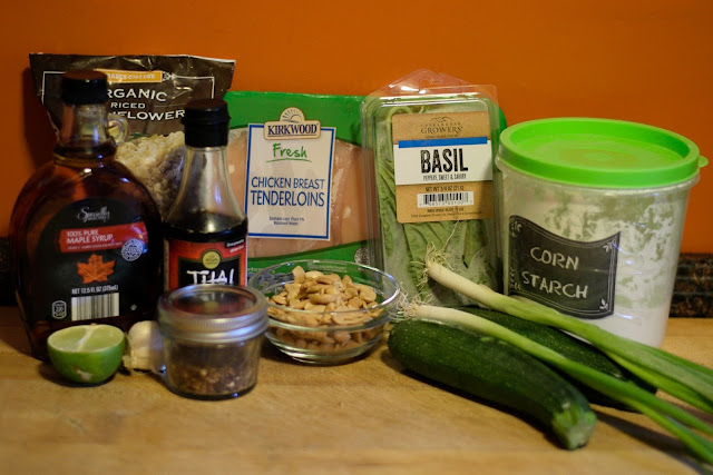 The ingredients needed to make the Thai Cashew Chicken with Zucchini Stir Fry over Cauliflower Rice.
