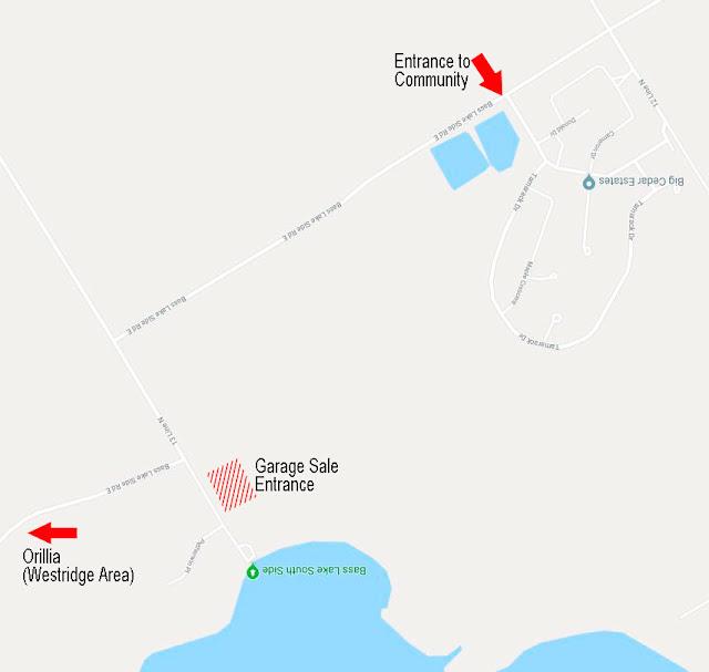 A map of the garage sale location for Big Cedar Estates.