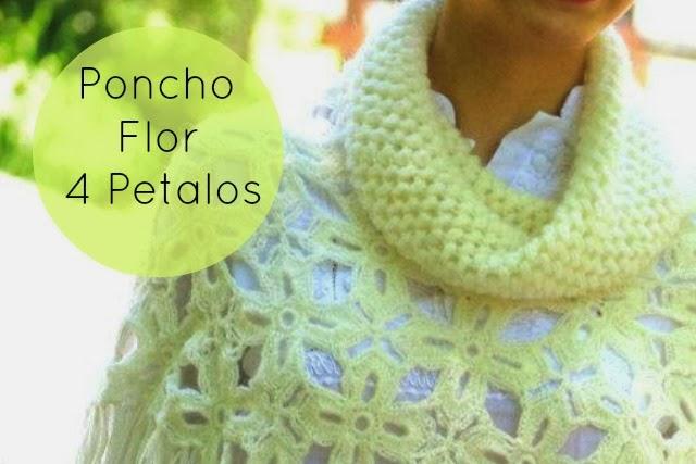 Poncho Flor 4 Petalos con Cuello Instrucciones