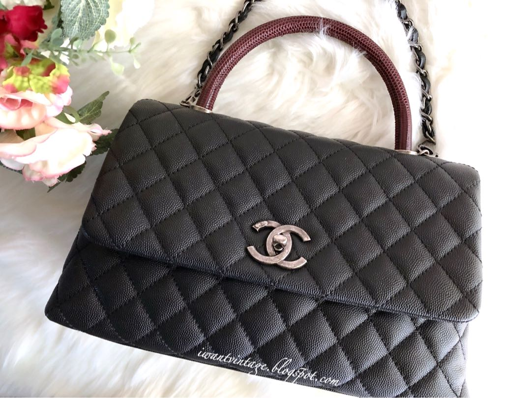 0ea441b37013 Chanel (A91991) Small Coco Handle Bag in Lizard Handle-Black Caviar,  Ruthenium hardware. Complete set with receipt. Condition : *Like New*