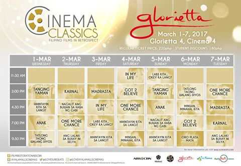 Cinema Classics - Glorietta - Schedule