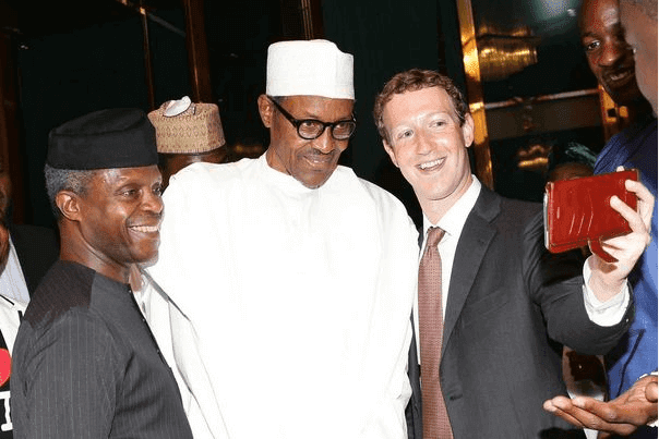 mark zuckerberg selfies with President Muhammadu Buhari and Vice President, Yemi Osinbajo.