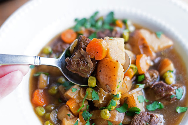A delicious looking bite of the Irish Beef Stew.