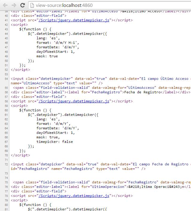 Código HTML del formulario