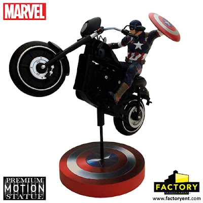 "Avengers: Age of Ultron ""Captain America Rides"" Marvel Premium Motion Statue by Factory Entertainment"
