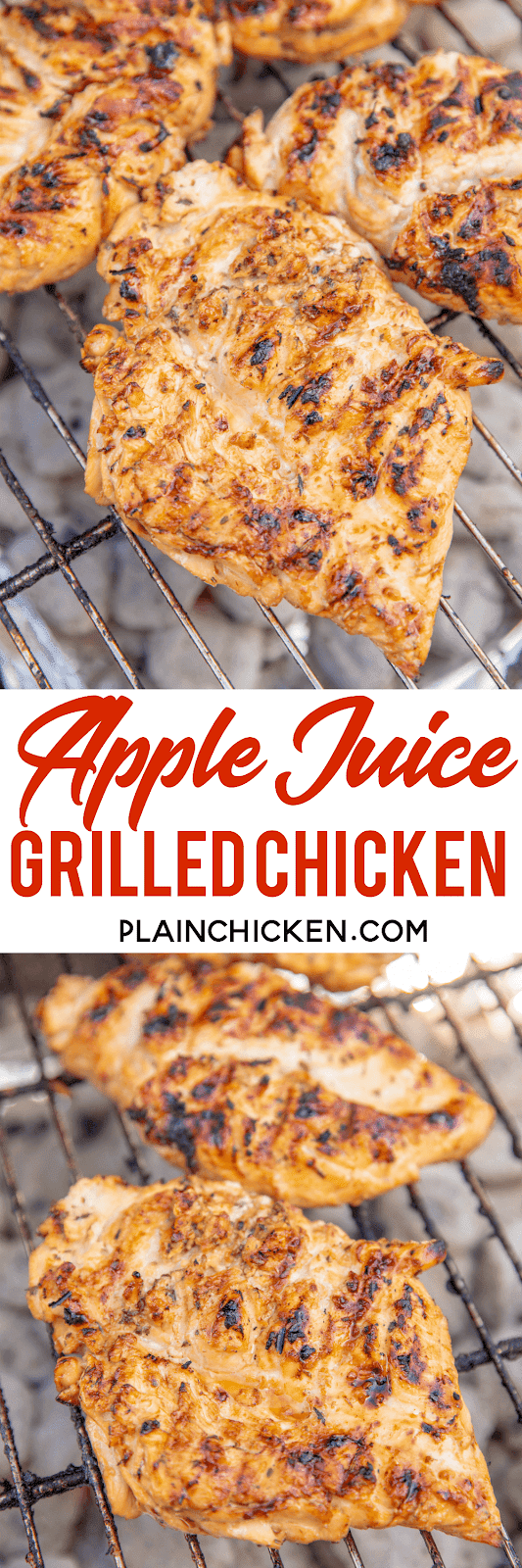 Apple Juice Grilled Chicken - so juicy and packed full of amazing flavor!! Chicken marinated in apple juice, brown sugar, soy sauce, lemon juice and garlic. SO simple and SOOO delicious!! We ate this twice in one day! Leftovers are great chopped up on a salad or in a wrap. Grill up a double batch today for easy meal prep all week! YUM! #grilling #chicken #grilledchicken #marinade