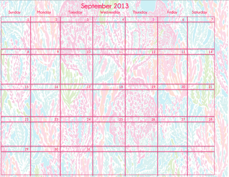 Lilly Pulitzer Printable Calendar