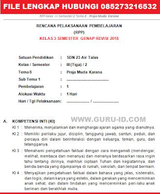 GAMBAR RPP TEMA 8 Praja Muda Karana KELAS 3 REVISI 2018