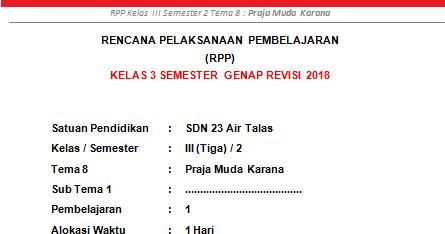 Rpp Kelas 3 Sd Mi Semester 2 Tema 8 Praja Muda Karana Revisi 2019 Info Pendidikan Terbaru