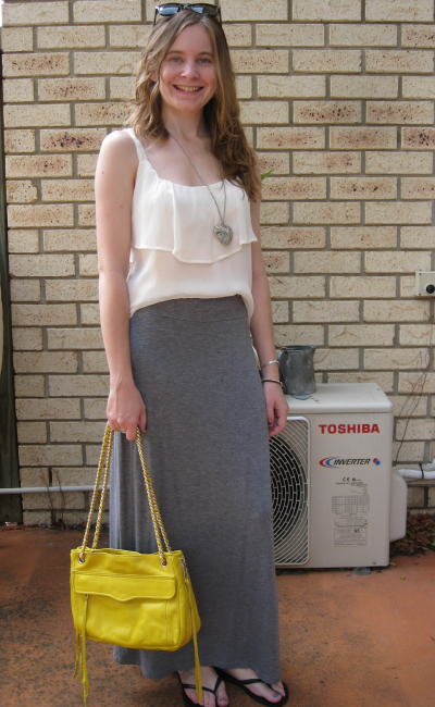 Cream ruffle cami grey marle maxi skirt yellow Rebecca Minkoff swing bag