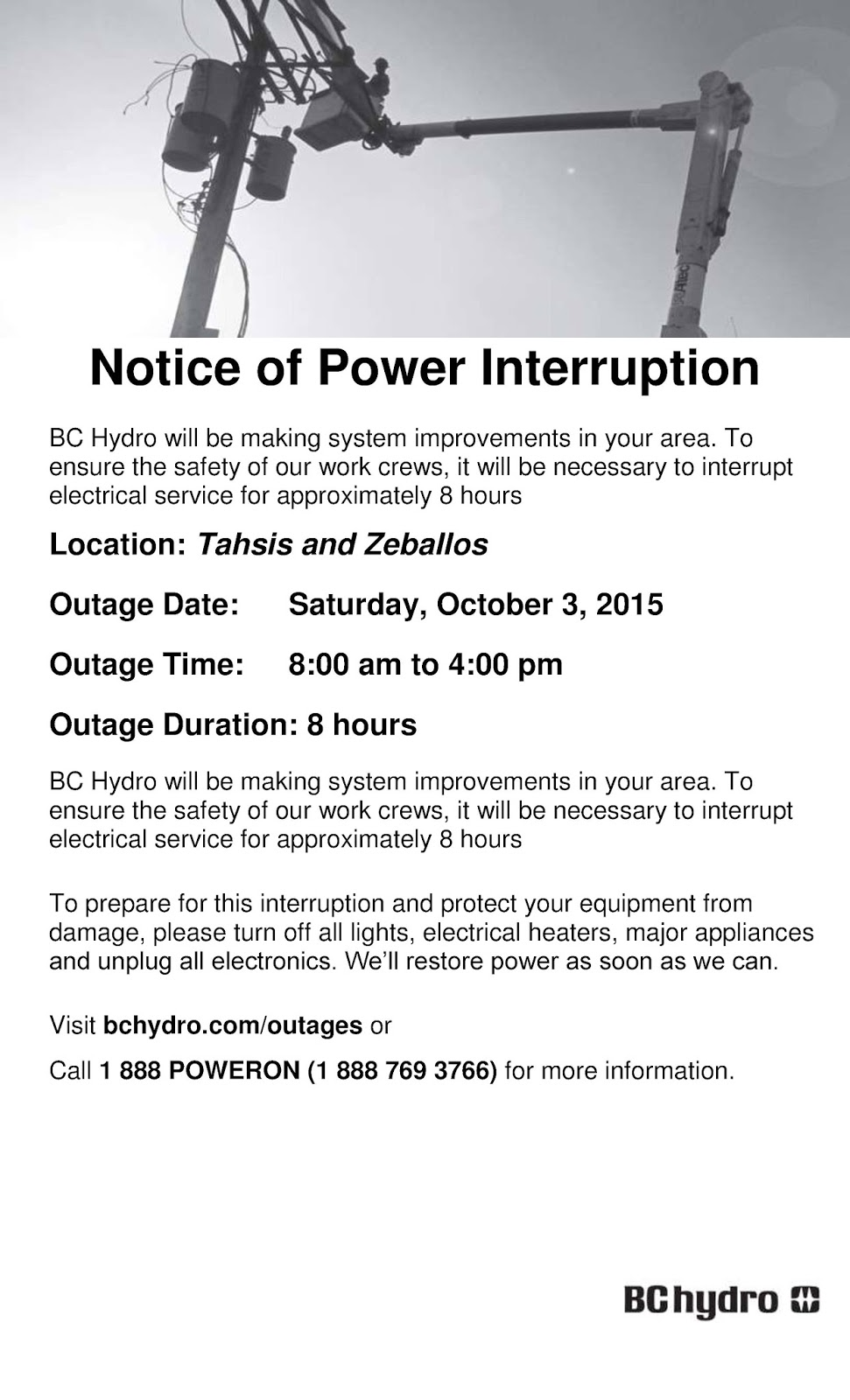 Tahsis Living: Power Outage Planned by BC Hydro