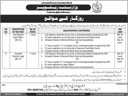 Jobs In Ministry Of Railways 2019/Latest Govt Of Pakistan Jobs