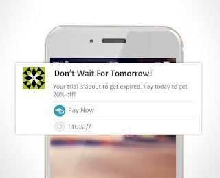 Ejemplo de notificación web para móvil