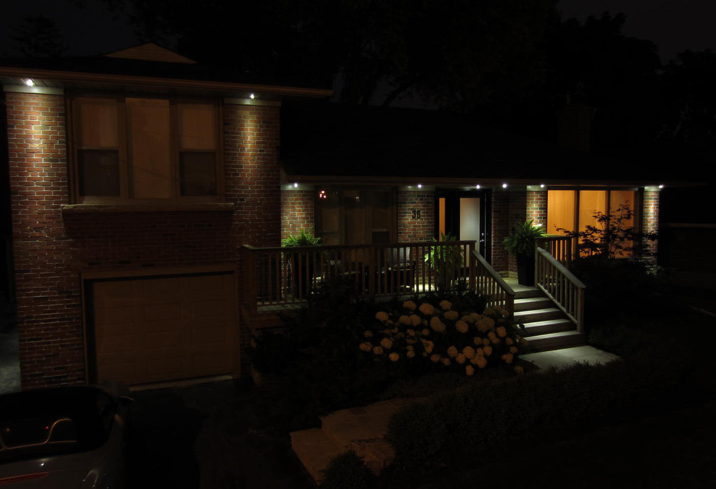 Lighting Basement Washroom Stairs: Toronto Eavestroughing: LED Recessed Soffit Lighting/Potlights