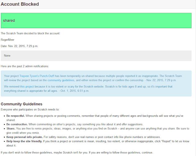 Scratch MIT account blocked ban message