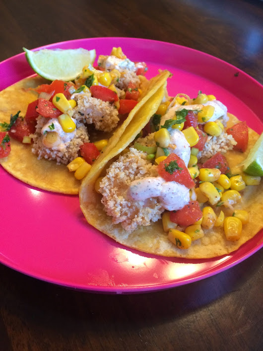 Kreepin' In the Kitchen: Baked Popcorn Shrimp Tacos with Tomato and Corn Salsa and a Spicy Sour Cream Sauce!!! You need to try this now