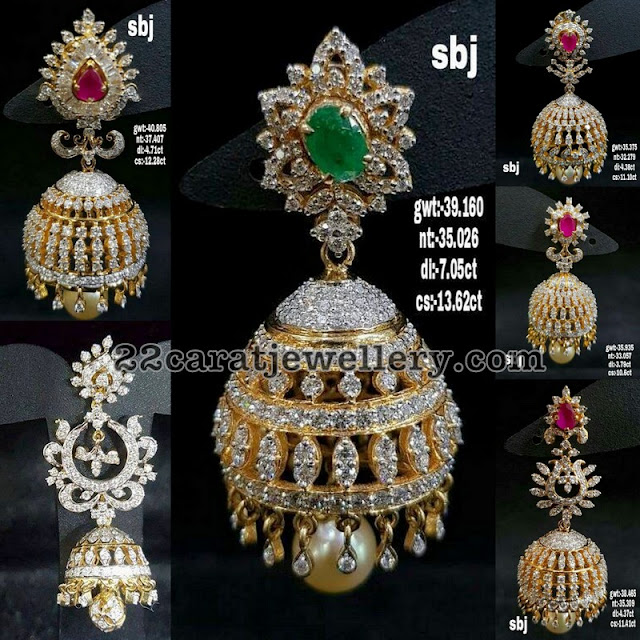 Diamond Jhumkas with Interchangeable Stones