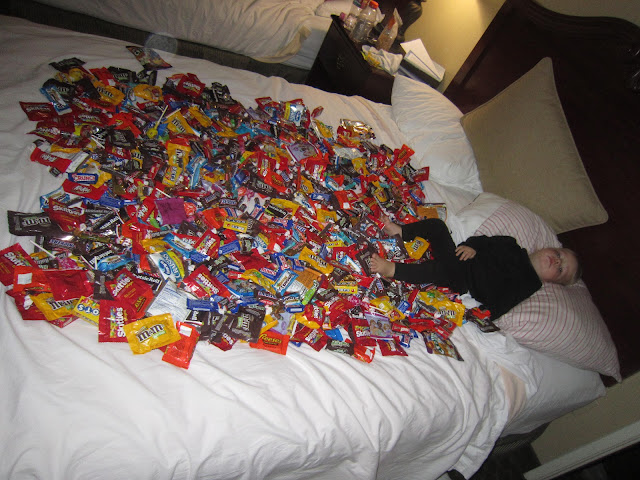 Image result for halloween candy on bed