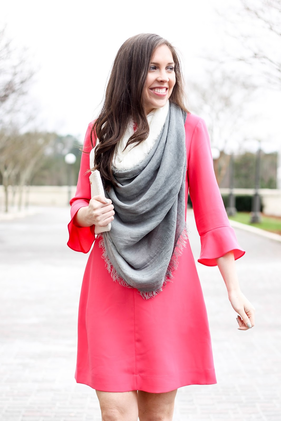 Spring Outfit Ideas, Spring Dress, Preppy Spring Dress with Ruffle Sleeves, Flutter Sleeve Dress, Banana Republic, GiGi New York All in One in white, Loft ombre scarf, fashion blogger, spring trends, pretty in the pines blog, shelby vanhoy