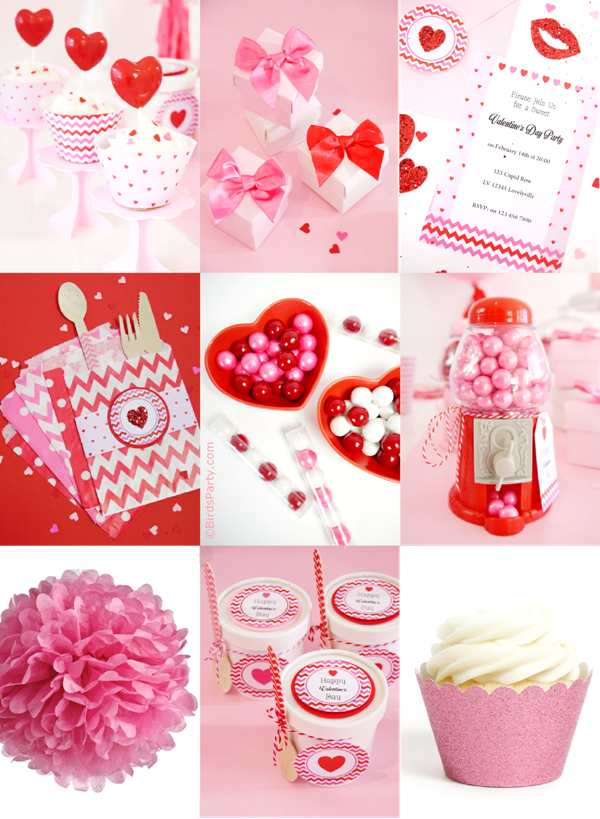 Pink and Red Valentine's Day Party Ideas - BirdsParty.com