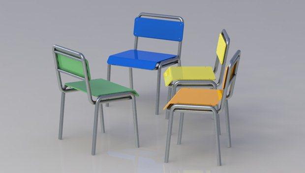 Perspectiva del perfil de la composición de las 4 sillas