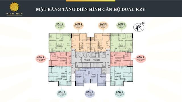 Mặt bằng căn hộ DUAL KEY tại Chung Cư The Sun Mễ Trì Hạ