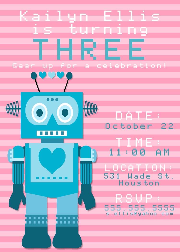 Super Fine Robot Birthday Invitations Frieze - Invitation Card Ideas  TA03