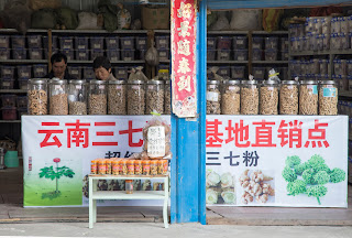 Two shoppers browse in a Chinese apothecary market inside the hidden area of Guilin, China