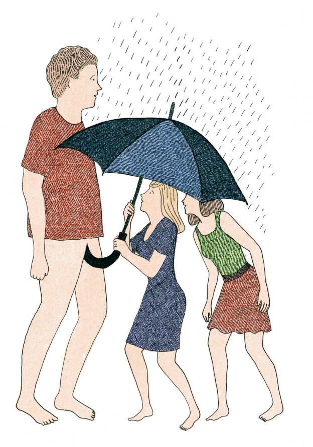 Dibujo erótico de dos mujeres y un hombre