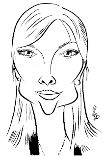 Samantha Womack,Janus,caricature by Ian Davy Brown