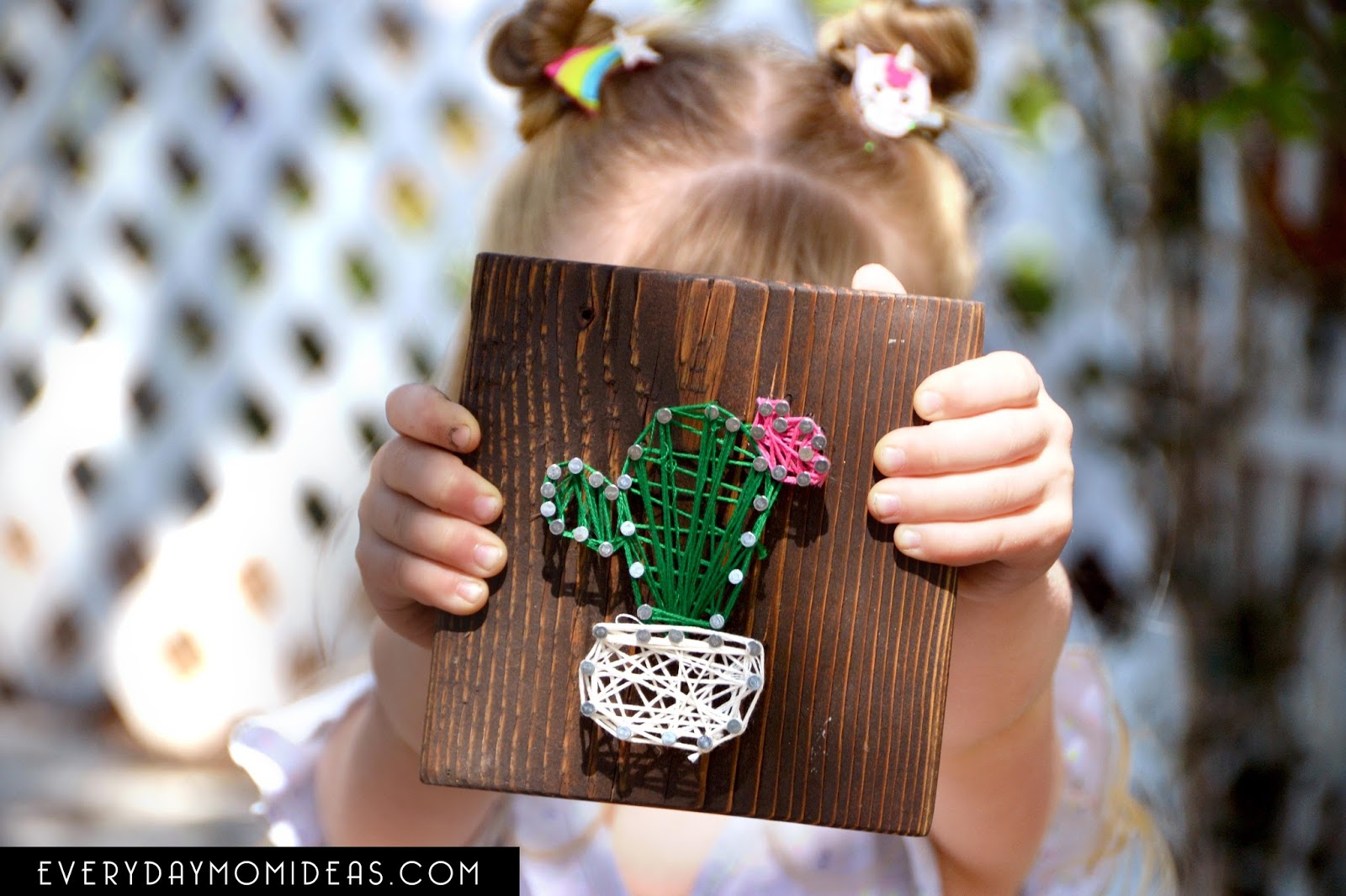 PDF Design DIY String Art Cactus Home Decor Pattern Stencil Cactus String Art Template Cactus