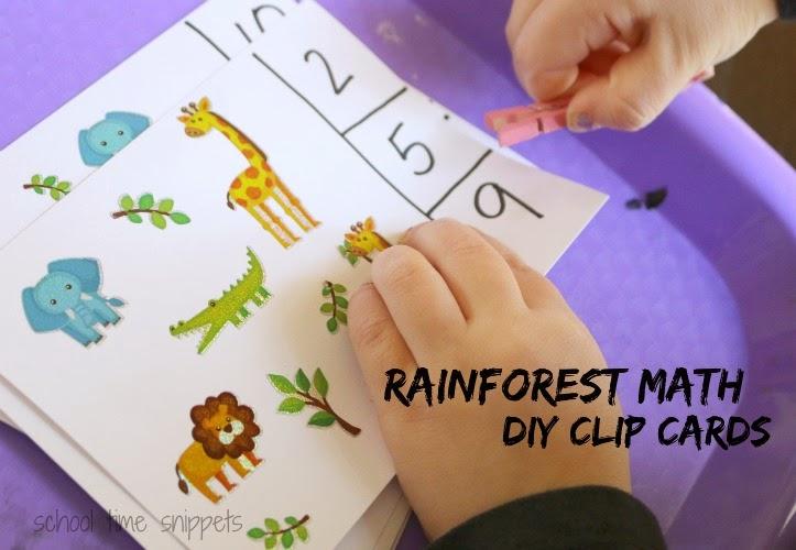 preschool counting skills math clip cards
