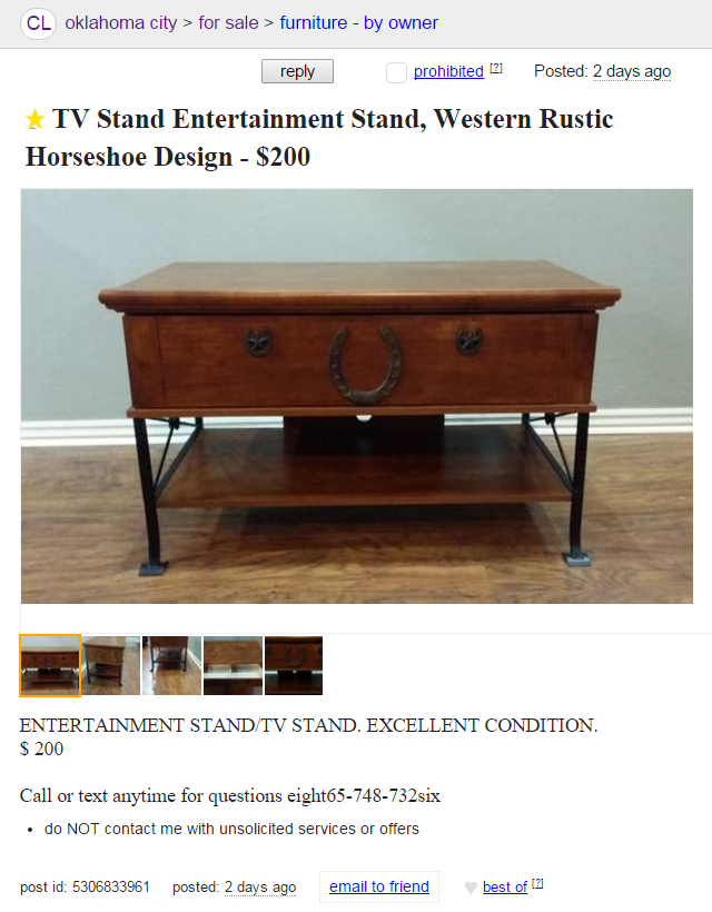 Craigslist Ad Screenshot: Entertainment TV Stand, Western Rustic Horseshoe