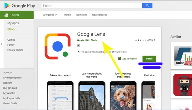 Download Google Lens from Playstore