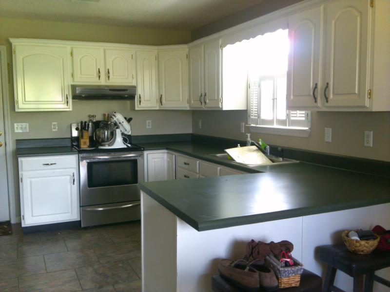 Kitchen With Hunter Green Countertops
